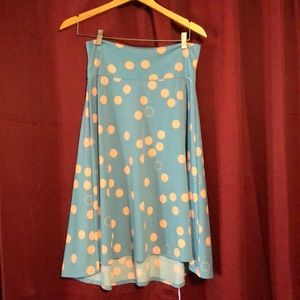 Lula Roe Azure Skirt. Sz M blue with pink dots